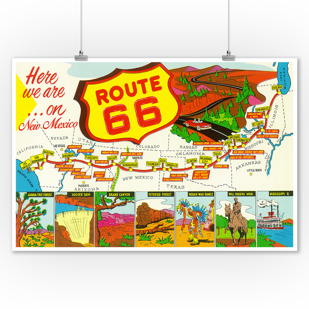 New Mexico - Route 66 Map - Lantern Press Poster (9x12 Art Print, Wall Decor Travel Poster)