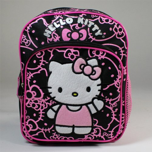"Mini Backpack - Hello Kitty - w/Bow Pink/ Black 10"" New 814110"