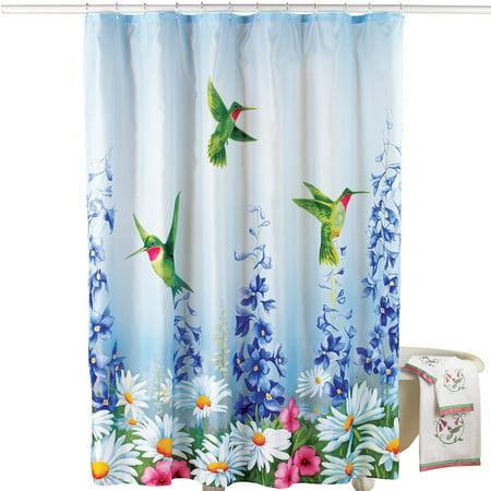 Garden Bliss Hummingbird Shower Curtain Blue