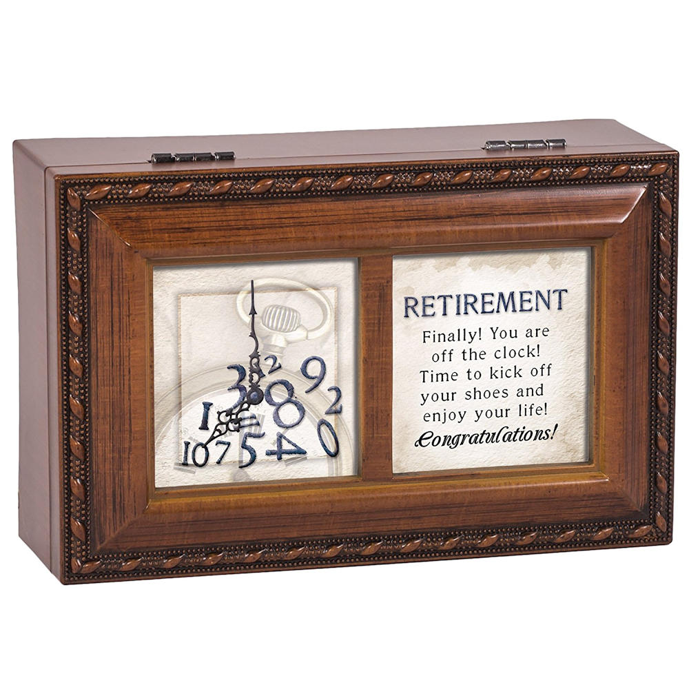 Retirement Off The Clock Enjoy Woodgrain Petite Music Box Plays What a Wonderful World