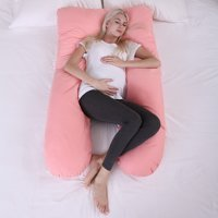 Jaxpety Pregnancy Pillow Pink Maternity Body Pillow for Extra Comfort w/ Zippered Removable Cover