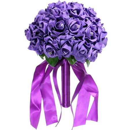 Hope Rhinestone - 1 Bouquet Artificial Rose Fake Flowers Wedding Bridal Rose Bride Foam Roses Bridal Flowers Wedding Party Bridesmaid Rhinestone Decor