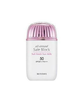MISSHA All Around Safe Block Soft Finish Sun Milk SPF50+ PA+++, 1.35 Oz