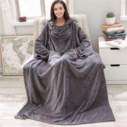 Deluxe Fleece Blanket with Sleeves for Adult Men Women Elegant Cozy Warm Extra