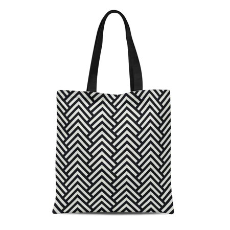 KDAGR Canvas Tote Bag Abstract Black and White Chevron Geometric Cell Chic Classic Durable Reusable Shopping Shoulder Grocery Bag (Eco Chic Reusable Bags)