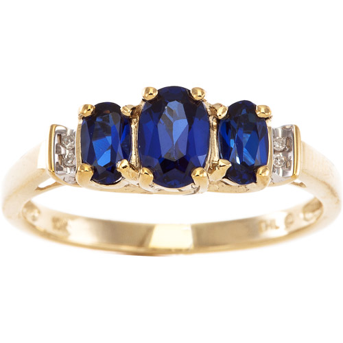 1.22 Carat T.G.W. Lab Blue Sapphire and Diamond Accent Ring in 10kt White Gold