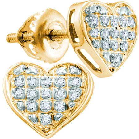 - 10kt Yellow Gold Womens Round Diamond Heart Cluster Earrings 1/10 Cttw