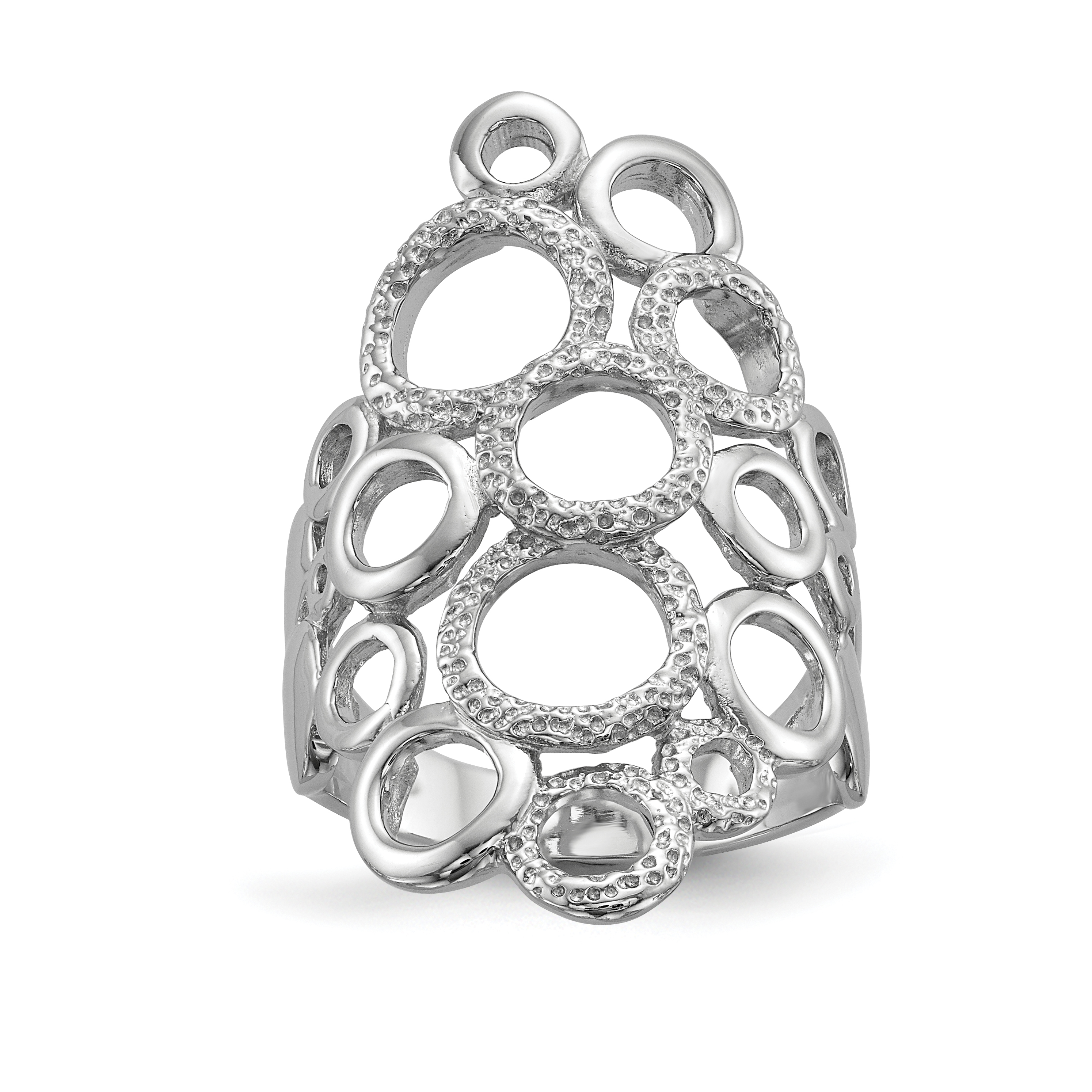 925 Sterling Silver Textured Circles Band Ring Size 7.00 Fine Jewelry Gifts For Women For Her - image 4 de 4