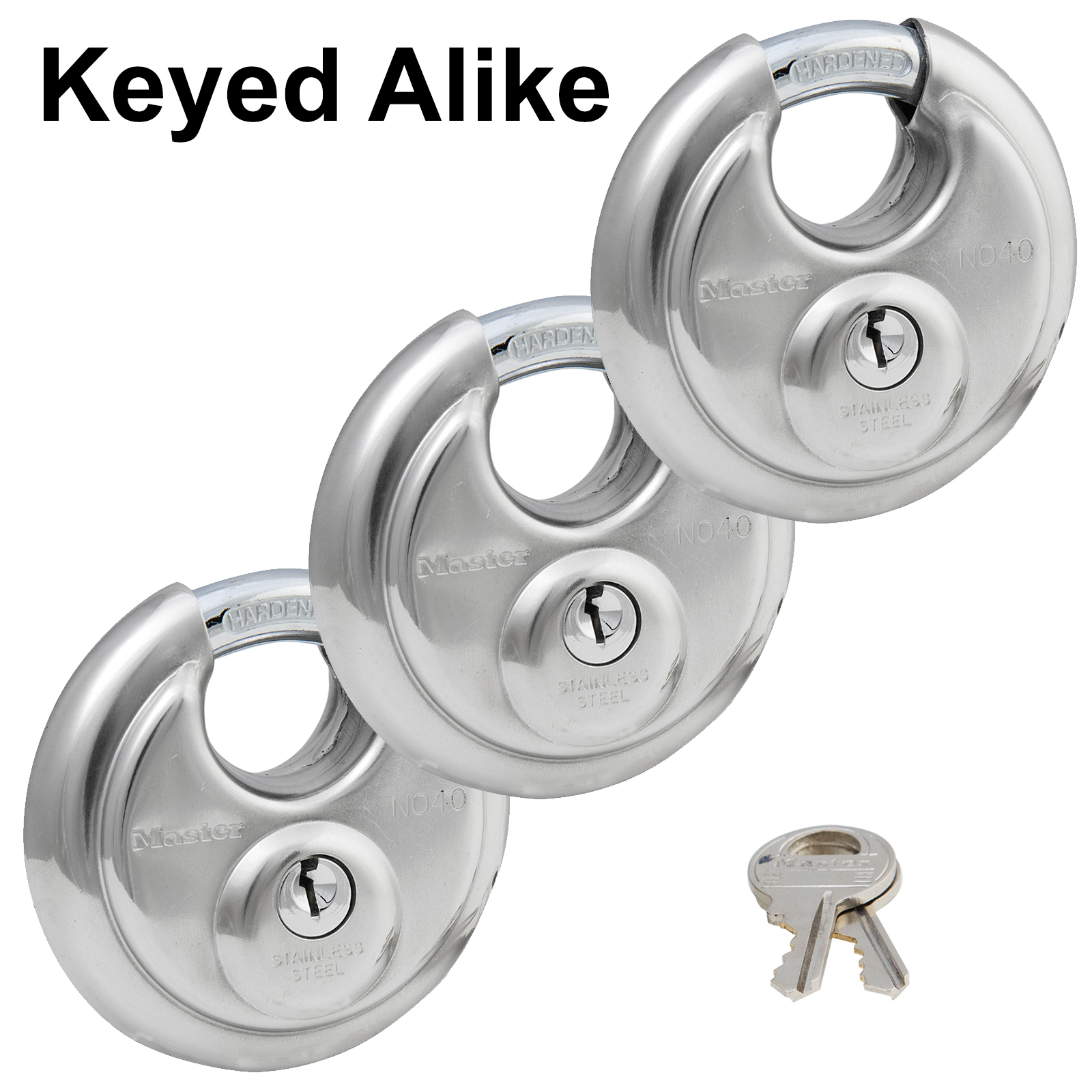 Master Stainless Lock - (3) Keyed Alike Multi Purpose Padlocks 40TRI-3 VALUE PACK