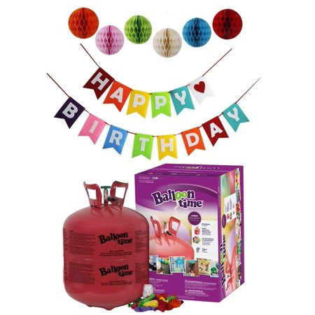 Balloon Time Disposable Helium Tank 14.9 cu.ft - 50 Balloons and Ribbon Included by Blue Ribbon + Pom Poms with Colorful Happy Birthday Banner (Buy A Helium Tank For Balloons)