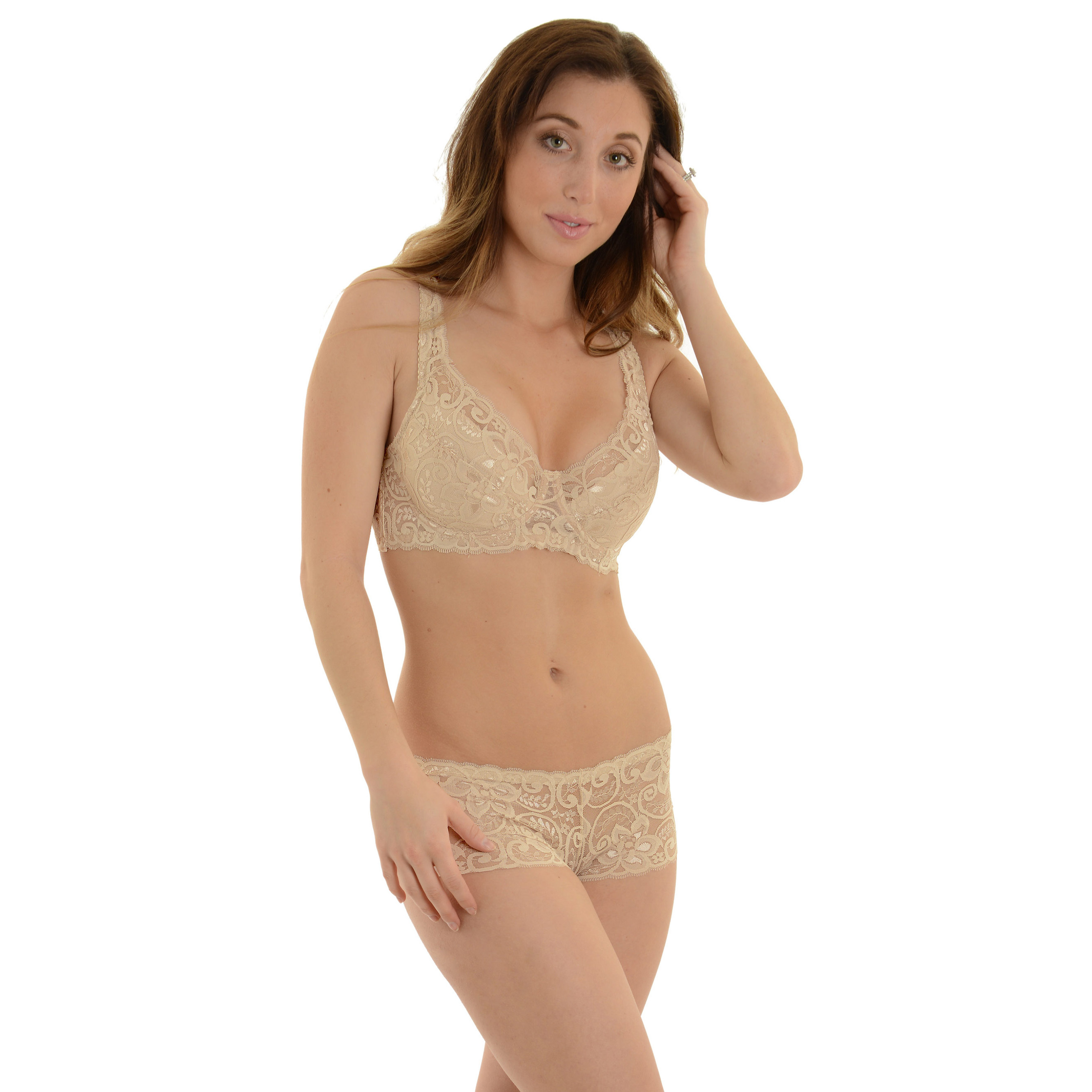 1adfcdb38e242 Carrieamber lined nude lace bra and sheer boyshort panties piece set jpg  2628x2628 Pearl lace bra