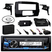 """Audio Bundle For 2014 and Up Harley - JVC KD-X33MBS MP3 USB AUX Marine Bluetooth Media Receiver Bundle Combo With Installation Dash Kit, Handle Bar Controller for Motorcycle, Enrock 22"""" Radio Antenna"""
