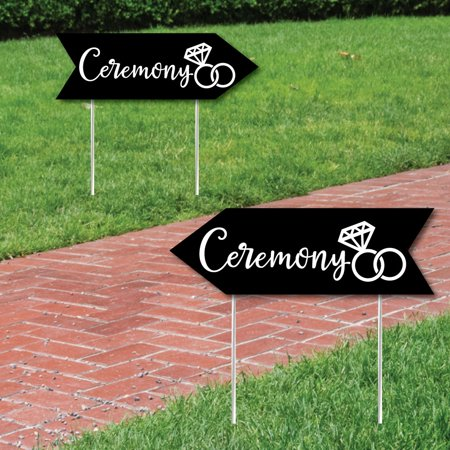 (Black Wedding Ceremony Signs - Wedding Sign Arrow - Double Sided Directional Yard Signs - Set of 2 Ceremony Signs)