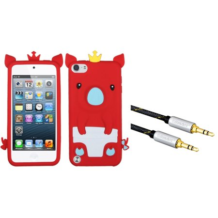 Insten Red Crown Piggie Pastel Skin Case for iPod touch (5 5G 5th 6 6G 6th Gen) (with 3.5mm Audio Extension Cable M/M) (2-in-1 Accessory Bundle) ()