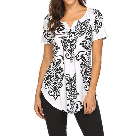 Women's Paisley Printed Long Sleeve Henley V Neck Pleated Casual Flare Tunic Blouse - Mini Paisley Tunic
