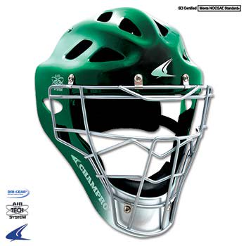 Gem Gloss Pro-Plus Catchers Style Headgear- Youth 6 1/2-7, Forest Green/Silver