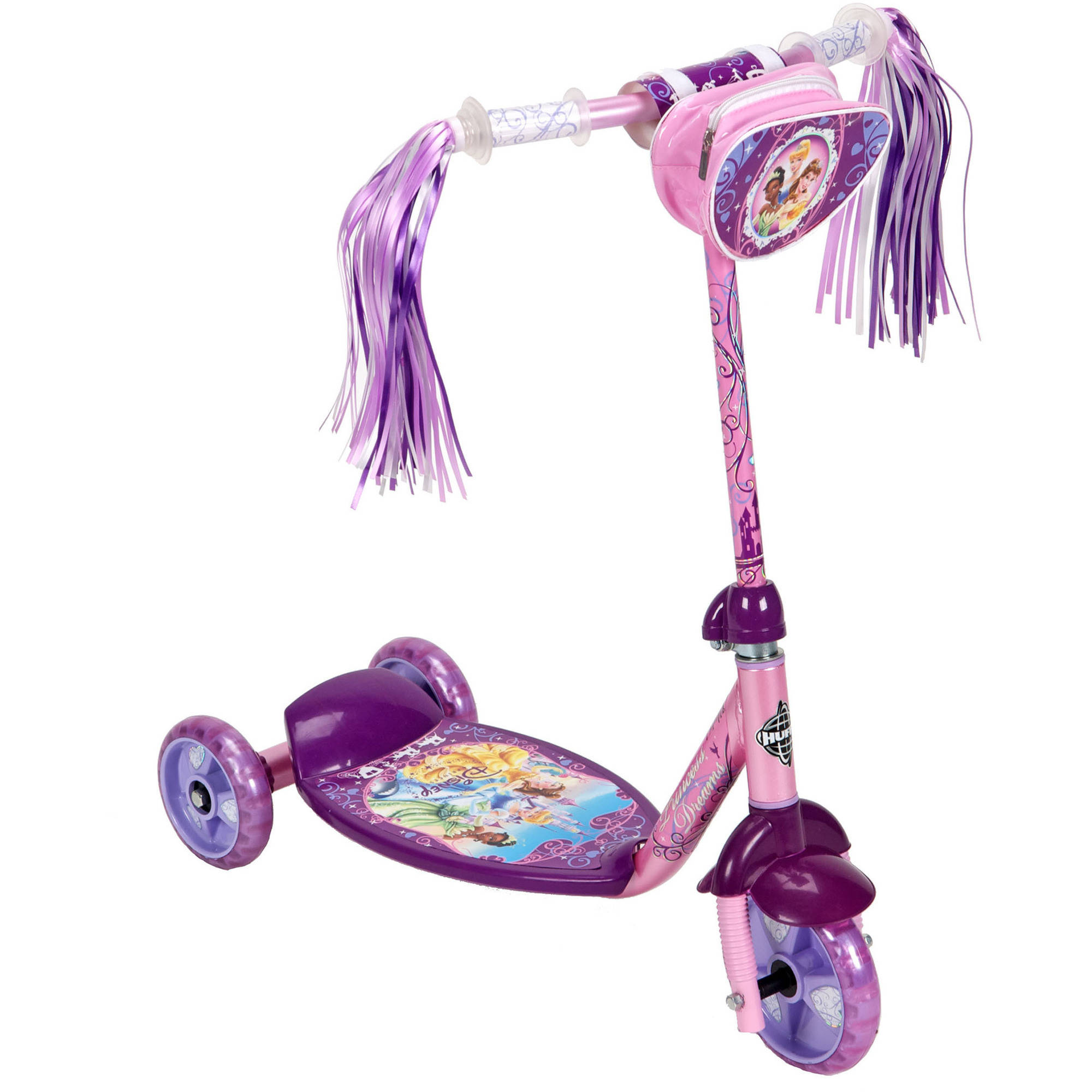 Huffy Disney Princess 3-Wheel Preschool Scooter, Pink/Purple