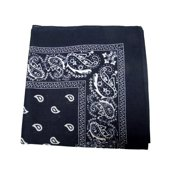 "100% Cotton Double Sided Print Paisley Bandana Scarf, Head Wrap - Navy Blue, 22"" X 22"""