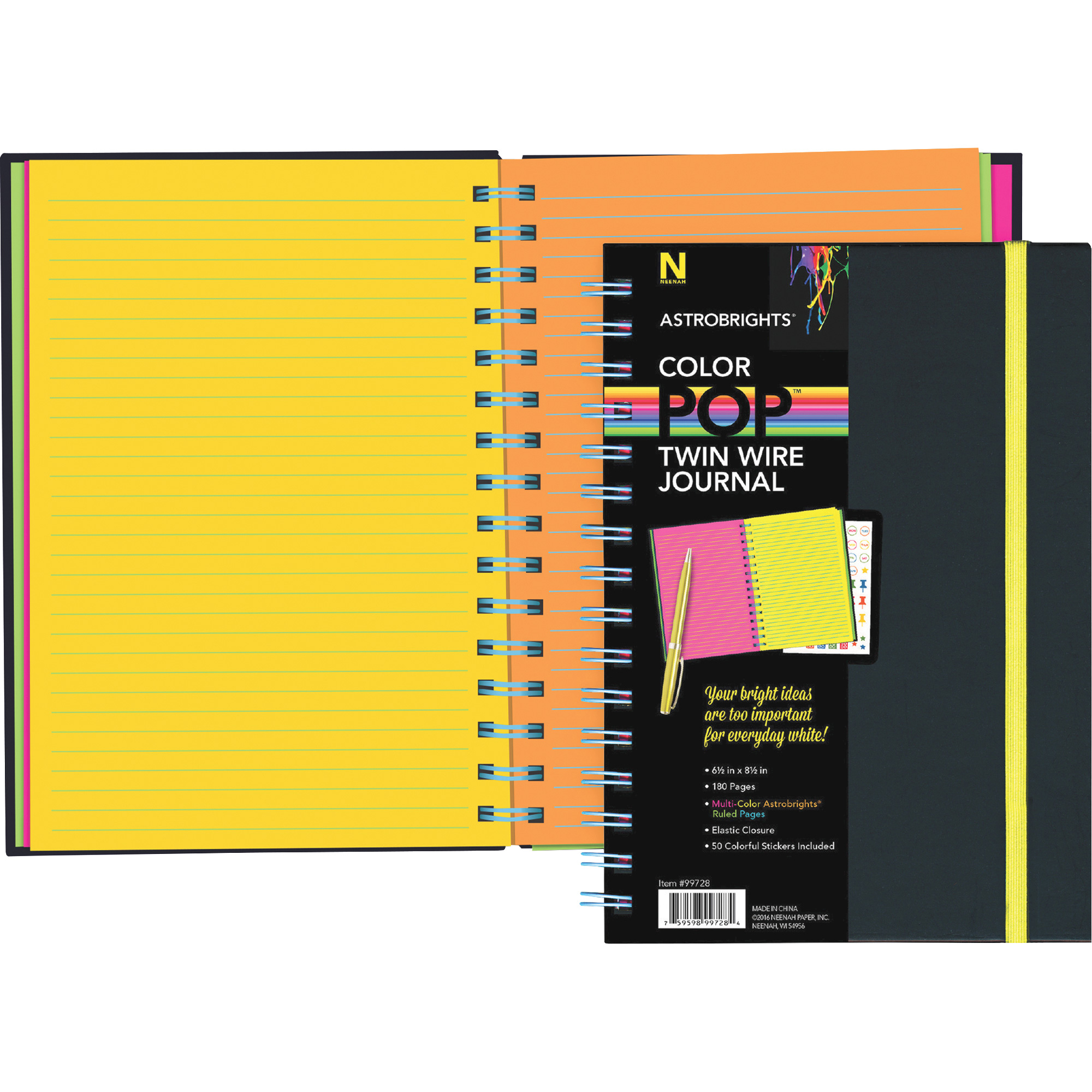 "Astrobrights Twin Wire Journal, 6.5"" x 8.5"", Multi-Color Ruled Pages ..."