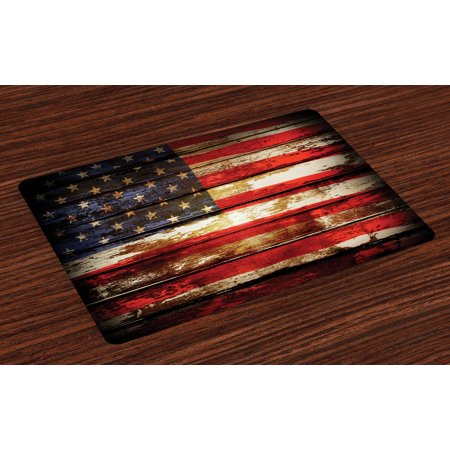 American Flag Placemats Set of 4 Us Symbolism over Old Rusty Tones Weathered Vintage Social Plank Artwork, Washable Fabric Place Mats for Dining Room Kitchen Table Decor,Multicolor, by Ambesonne