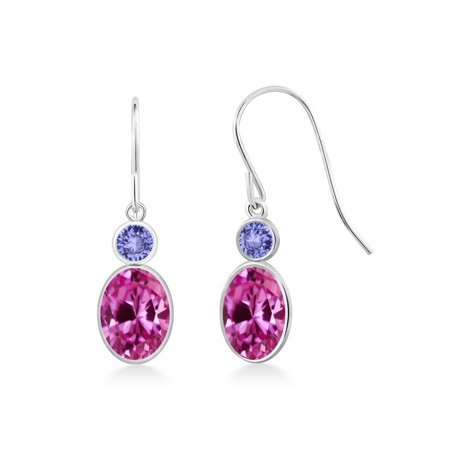 2.24 Ct Oval Pink Created Sapphire Blue Tanzanite 14K White Gold Earrings - image 3 of 3