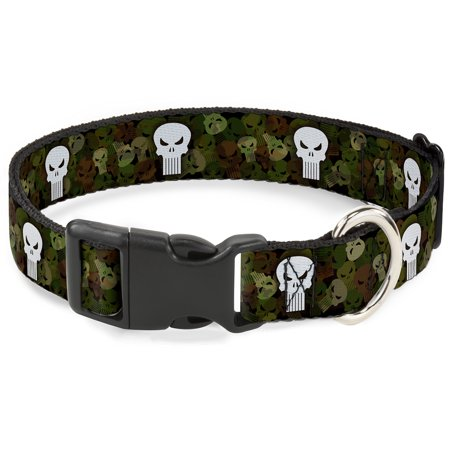 Dog Collar Plastic Clip Punisher Logo4 Stacked Repeat Camo Olive White 6 to 9 Inches 0.5 Inch