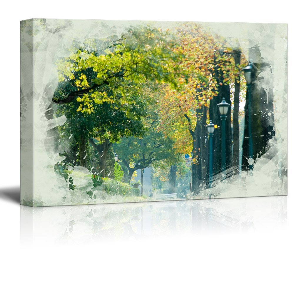 wall26 Canvas Print Landscape Wall Art - Houses Before the Tree-Lined Street - Gallery Wrap Modern Home Decor | Ready to Hang -32x48 inches