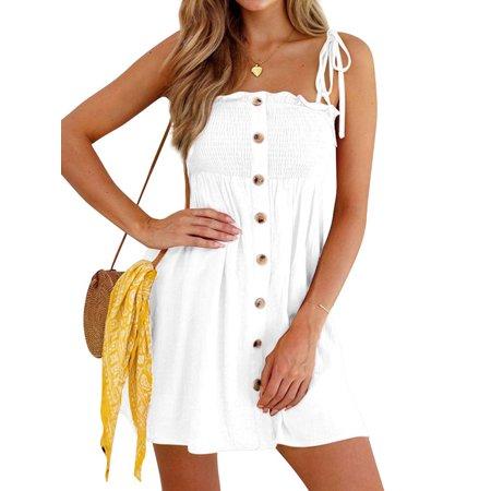 Women Square Neck Sleeveless Party Dress Open Back Button Design Sun Dress