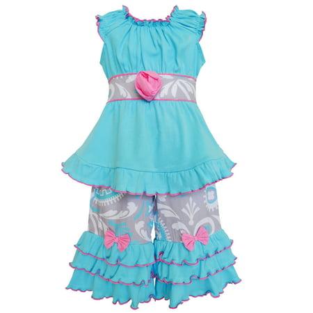 Girls Boutique (AnnLoren Boutique Blue & Gray Medallion Tunic & Capri Outfit Girls)