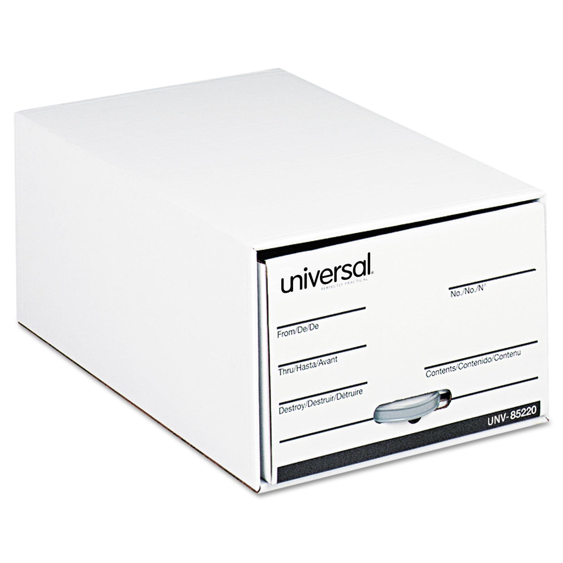 "Universal Storage Box Drawer Files, Legal, Fiberboard, 15"" x 24"" x 10"", White, 6/Carton"