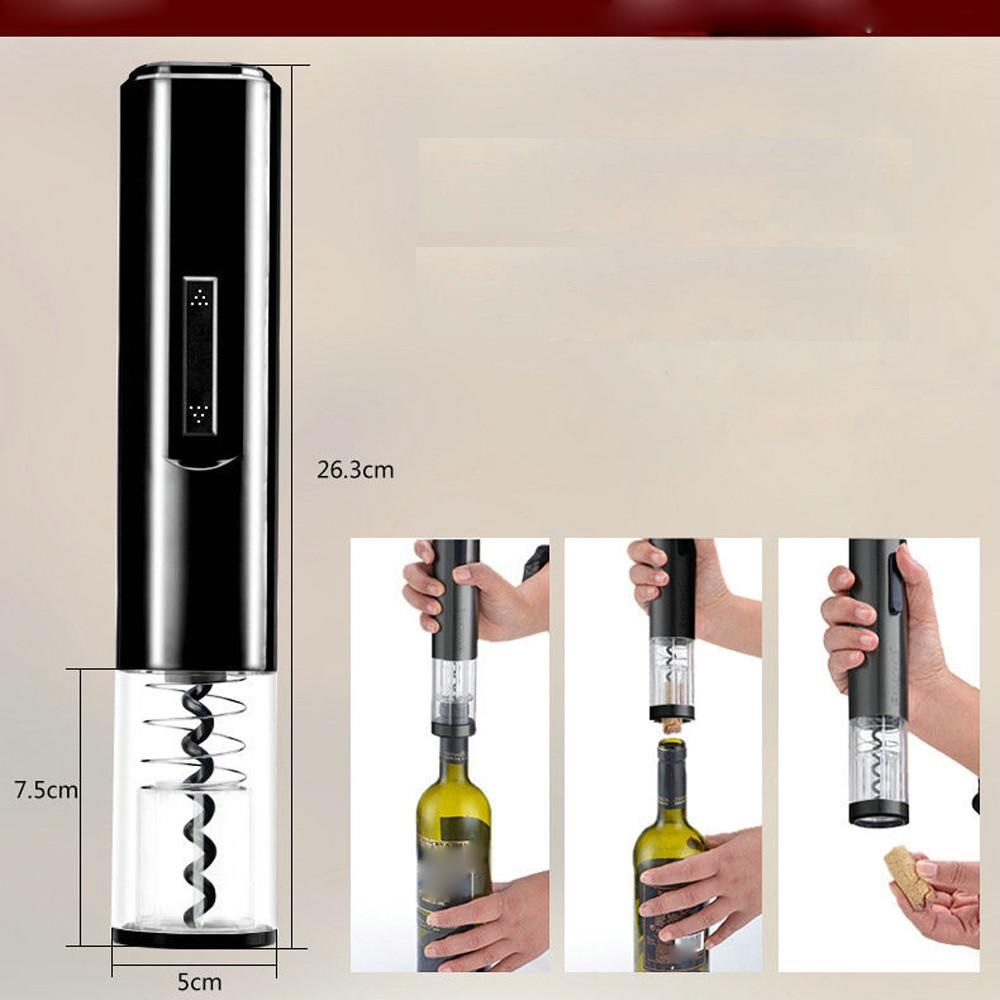 Wine Bottle Opener, Electric Cordless Corkscrew Wine Bottle Opener With F Cutter Vacuum Stopper