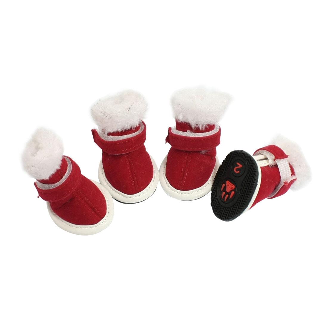 Unique Bargains White Plush Top Red Faux Suede Vamp Xmas Boots Pet Dog Shoes Size 2
