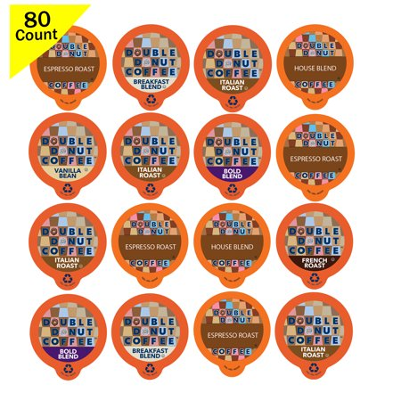 Double Donut Coffee, in Recyclable Single Serve Cups for Keurig K Cup Brewer, Variety Pack Sampler, 80 Count