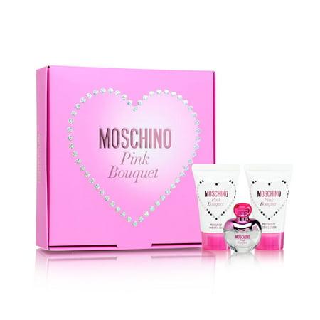 Pink Bouquet by Moschino for Women 3 Piece Set Includes: 0.17 oz Eau de Toilette + 0.8 oz Bath & Shower Gel + 0.8 oz Body Lotion