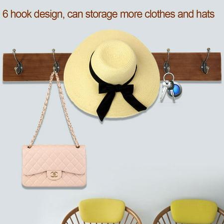 - Greensen Vintage Wall-mounted Wooden Coat Rack Antique Cast Iron Coat Hat Storage 6 Hooks