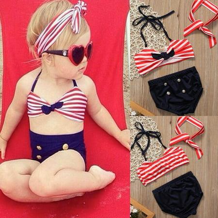 0-4Y Newborn Kids Baby Girls Sleeveless Tankini Bikini Swimwear Swimsuit Bathing Suit