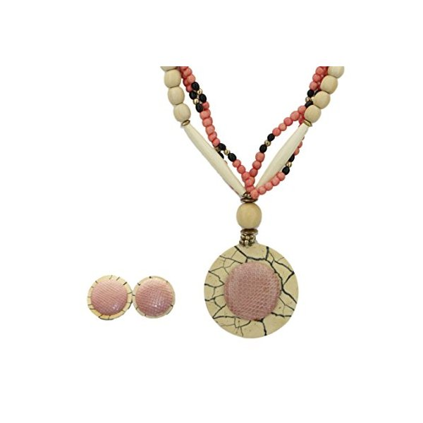 Multi-strand Pink Bead Necklace and Earring Set