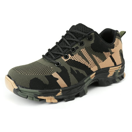 Men's Steel Cap Toe Safety Shoes Work Hiking Boots Protective Military Combat Mesh Breathable Shoes for Outdoor Working(Green,Blue,Grey,Red) ()