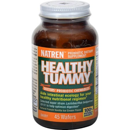 Natren Healthy Tummy Probiotic Chewables - Natural French Vanilla Ice Cream Flavor - 45