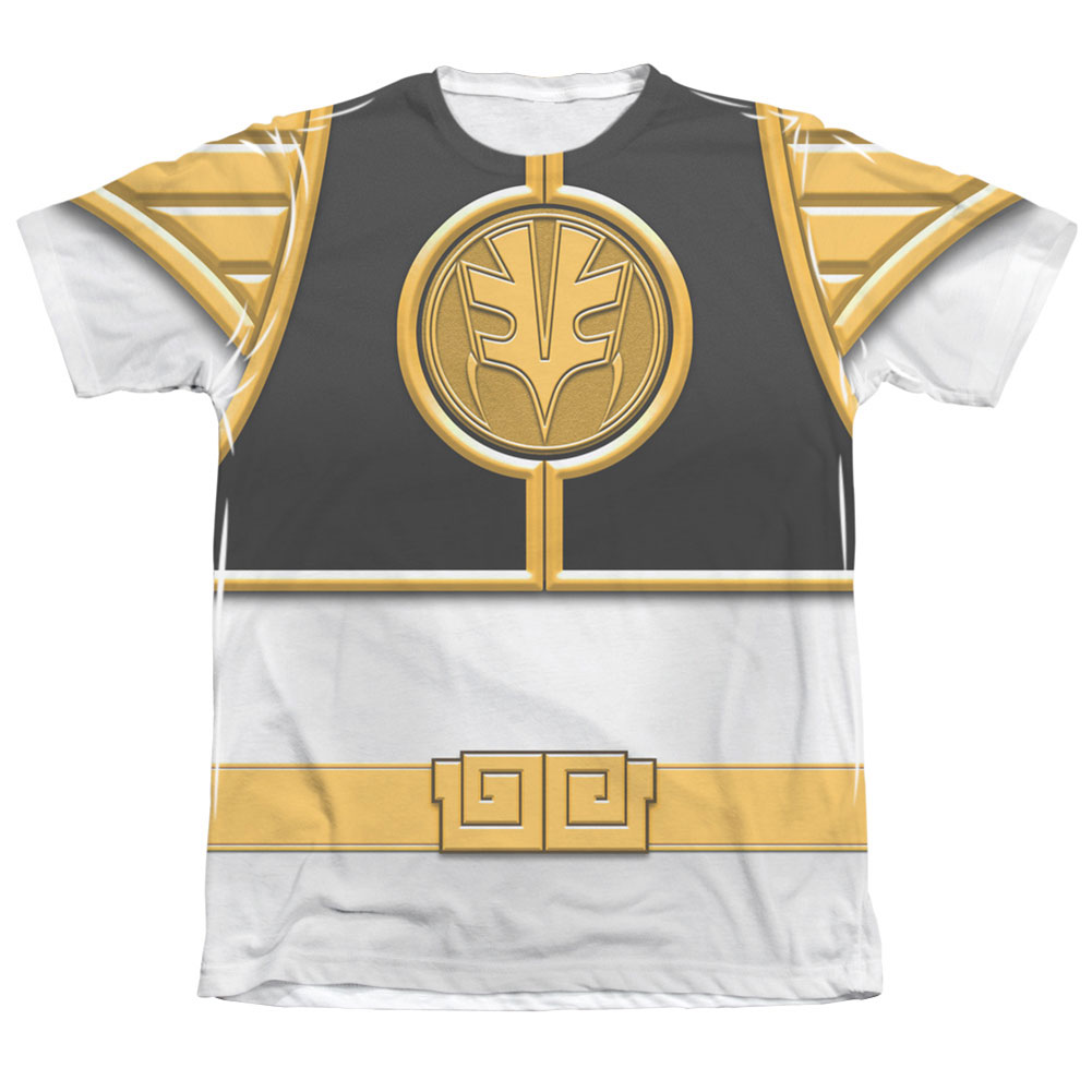 Power Rangers Men's  White Ranger Sublimation T-shirt White