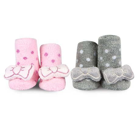 77a97c921bba0 Waddle 2 Pack Boutique Girls Baby Socks Fuzzy Chenille Polka Dot Bow Socks  Newborn Booties 0-12 Months Baby Slippers Pink and Gray with Sensory Baby  ...