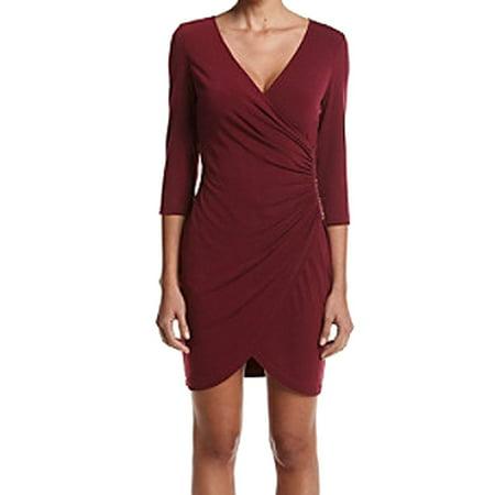 48d003439783 GUESS - Guess Red Raspberry Womens Size 2 Chain-Trim Jersey Faux Wrap Dress  - Walmart.com