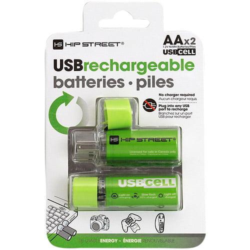 Hip Street USB Rechargeable 2 x AA Batteries