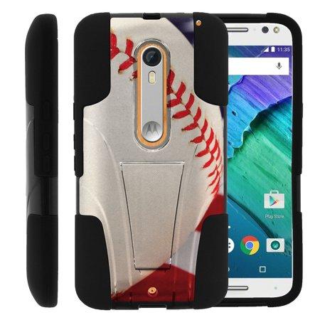 Motorola Moto X Style and Moto X Pure XT1575 STRIKE IMPACT Dual Layer Shock Absorbing Case with Built-In Kickstand - Baseball Seams