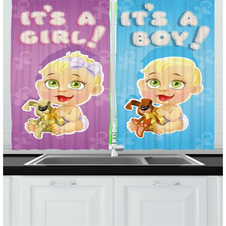 Gender Reveal Curtains 2 Panels Set, Girl and Baby Boy with Dogs Puppy Cute Figures Congratulations Birthday Theme, Window Drapes for Living Room Bedroom, 55W X 39L Inches, Multicolor, by Ambesonne