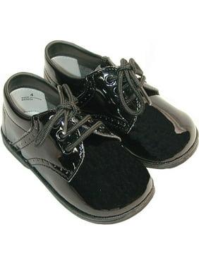 Product Image Baby Toddler Boy Patent Black Classic Saddle Style Dress Shoe  Size 1-7 58cd634cb56