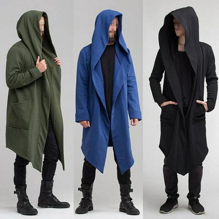 Men Women Outwear Hooded Coat Long Trench Jacket Warm Casual Cloak Cape