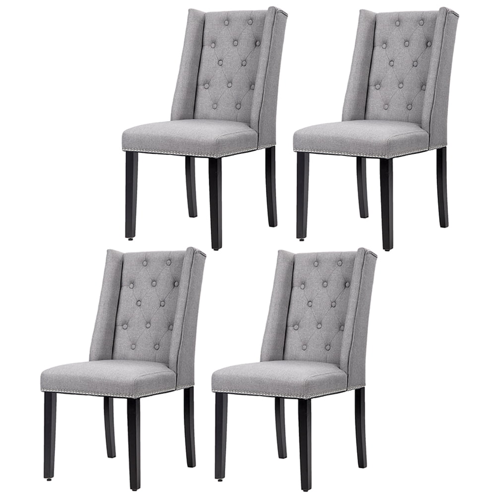 Green House in Box Dining Chair Set of 4 Elegant Upholstered Fabric Cushion Seat Side Chairs Stable with Metal Legs for Kitchen Dining Room