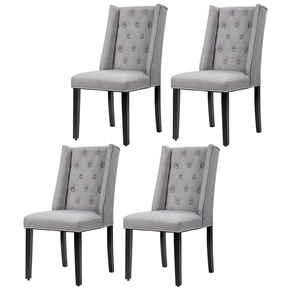 Set Of 4 Grey Elegant Dining Side Chairs Button Tufted Fabric W Nailhead 54B - Walmart.com  sc 1 st  Walmart & Set Of 4 Grey Elegant Dining Side Chairs Button Tufted Fabric W ...