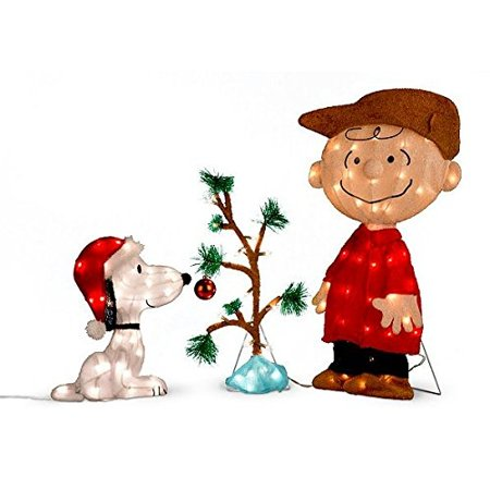 charlie brown snoopy the lonely tree lighted outdoor christmas decoration